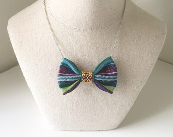 Ethnic Green -  Bow Tie Necklace - Neon Green, Purple and Blue Traditional Casual Bowtie, Aztec Bow tie Necklace
