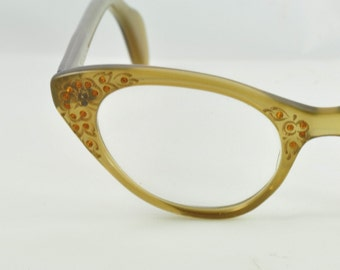 Schiaparelli Vintage Cat Eye Glasses, Amber with Etched Flowers & Rhinestones, 1950s