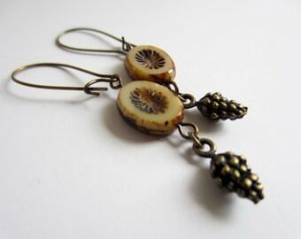 Czech Glass Earrings Pinecone Jewelry Brass and Czech Glass Earrings