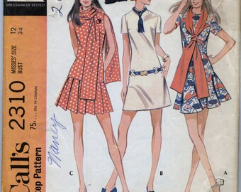 Misses' Dress With Three Skirts and Scarf Sewing Pattern -  McCall's 2310 - Size 12 - Bust 34