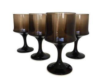 4 Vintage Wine Glasses Tawny Brown Wine Glasses Libbey Brown Stemware  Retro 80s Glass Barware