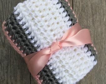 Crochet baby girl blanket, crochet baby blanket , crochet baby gift ,knit baby girl blanket, crochet handmade baby blanket