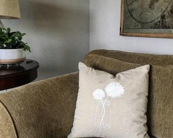 18 x 18 linen screen printed pillow cover mason jar flowers print