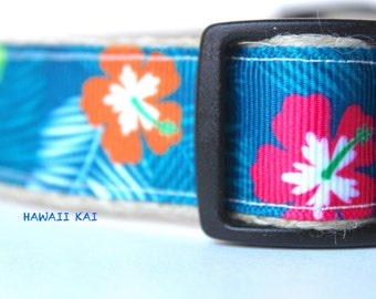 Hawaii Dog Collar, Dog Collar, Adjustable Dog Collar, Flower Dog Collar, Collar & Leash Set