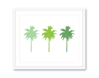 Palm Trees Art Print - Palm Tree Wall Art - Modern Decor - 3 palm trees in Custom Colors - Modern Palm Tree Print - Adari Art
