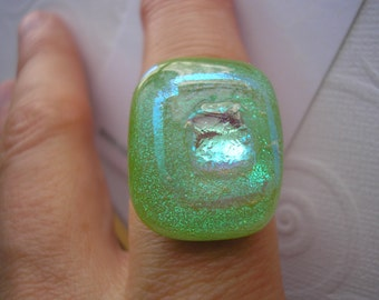 Ring Dichroic Spring Green with Silvery Apricot Blush Color Shifting Big Ring Fused Glass Adjustable Silver Plated Statement Chunky Jewelry