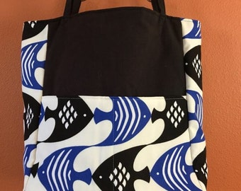 Loren #03  Black and Blue Fish Tote, Knitting Bag, Knitting Tote, Project Bag, Project Tote, Knitting Accessory Bag, Knit, Spin, Crochet,