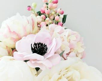 Bouquet - Hydrangea Anemone Peony Berries Ranunculus Eucalyptus Greenery Berries - Wedding Flowers - Bridal Bouquet Pink Purple Ivory