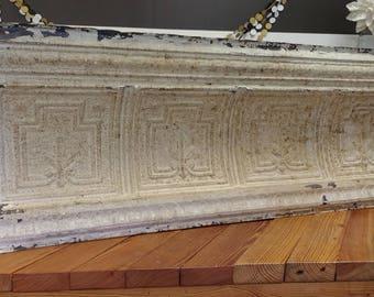 Pressed Tin Panel; Architectural Salvage; Antique Pressed Tin Crown Molding; Tin Ceiling; Headboard; Fleur De Lis; Fixer Upper