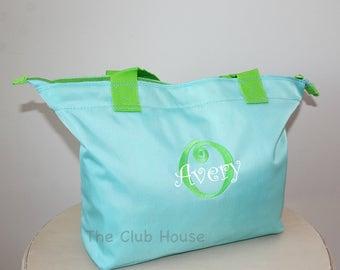 Monogrammed Zipper Tote Bag, Personalized Daycare Diaper Bag, Overnight Travel Bag, Aqua Tote Bag