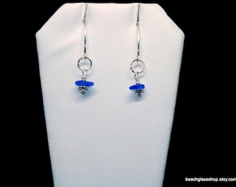 Sterling Sea Glass Earrings  -  Lake Erie Beach Glass Jewelry -  Cobalt Blue Sea Glass - FREE Shipping inside the United States
