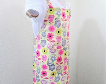 Childrens Apron - A Delightful Flowered Covered Apron-Pinks, yellows and grays...Fun for cooking, baking, creating, and painting in