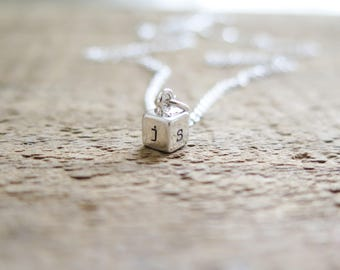 Cube Necklace - 4 Sided Sterling Silver Charm Personalized With Initials - Hand Stamped Jewelry by Betsy Farmer Designs