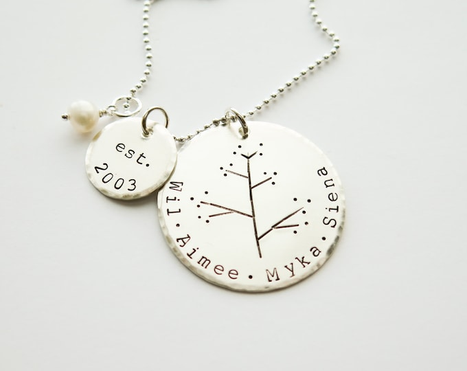 Hand Stamped Jewelry - Personalized Necklace - Sterling Silver - Family Tree by Betsy Farmer Designs - Valentines Day Gift for Her