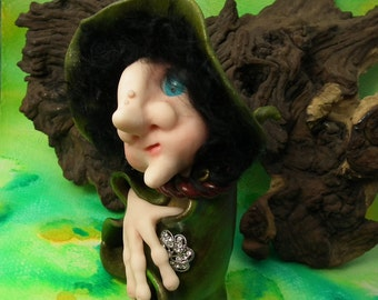 """The Witches are coming! 'AgretaHaggert' 5+1/2"""" Bewitching Hedge Hag Witch 'hand-on-heart' OOAK Sculpt by Sculpture Artist Ann Galvin"""