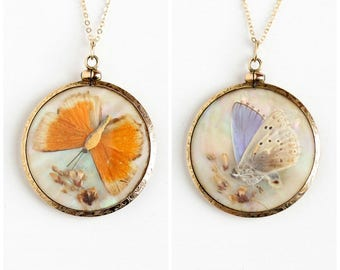 Antique 14k Rosy Yellow Gold Filled Morpho Butterfly Wing & Moth Mother of Pearl Pendant Necklace - Vintage Double Sided Large Jewelry Charm