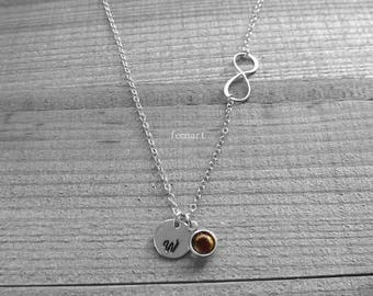 Initial Necklace with Infinity - Silver - Add birth stone - Personalized - Kids initials - Bridesmaid Gift - Sisters - Best Friends