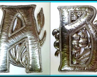 "1 Metal Letter, 12"" - Monogram, Initial, Choice of Letters, Haitian Recycled Steel Drum, Outdoor Metal Art Work, Metal Wall Letters, 1500-12"