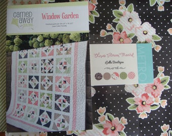 Window Garden Quilt Kit With Olives Flower Market fabric by Lella's Boutique from Moda