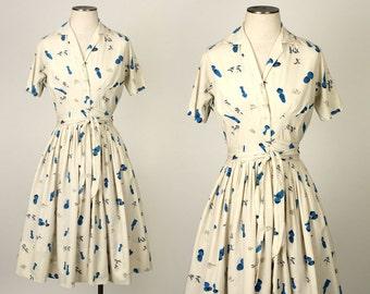 vintage KOKESHI DOLL dress • 1950s novelty print cotton wrap dress