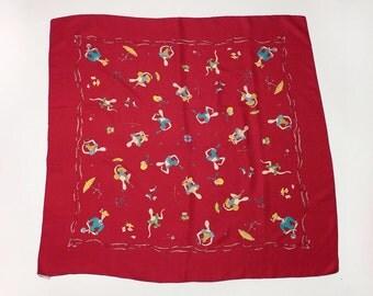 amazing 1940s silk scarf • novelty print dress forms Italian vintage scarf