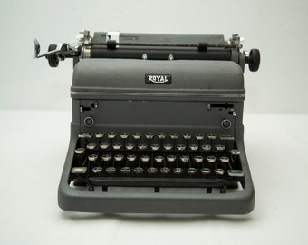Vintage 1949 Royal KMM Manual Typewriter - Dark Grey with Forest Green Keys - Works!