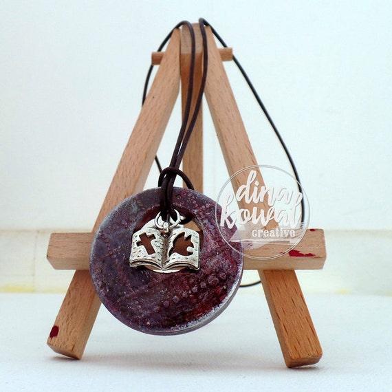 Bible wood pendant