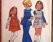 Vintage 1970s Little Girls Jumper or Tunic and Bell-Bottom Pants Size 5 Simplicity Pattern 5937 Cut/Complete