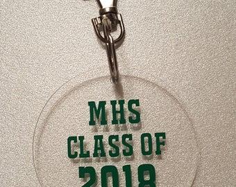 Graduation Year Acrylic Key Fob Choice of School Initials/Color/Year