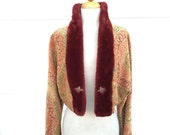 35% OFF 1980s New old stock tapestry woven plush collar and cuffs cropped jacket size M L