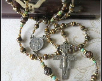 Traditional Bronze St. Francis Rosary in Burnt Horn w/ San Damiano Crucifix