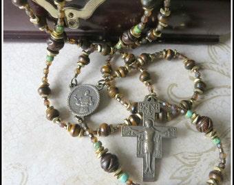 Catholic Rosary, St. Francis Rosary w/ San Damiano Crucifix, Bronze Rosary, Burnt Horn Rosary, Beaded Rosary, Hand Crafted Rosary