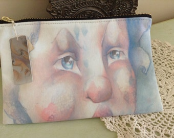 Zippered Case featuring fancy face illustration