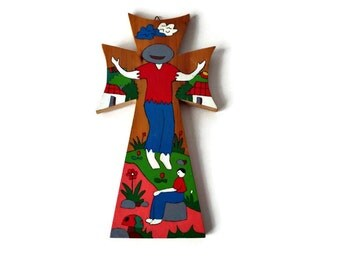 Vintage Folk Art Cross, Painted Vintage Wooden El Salvador, Christian Religious  Wall Crosses, Central American Art