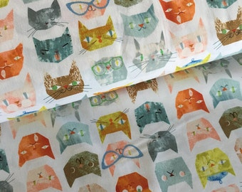 Smarty Cats by Maria Carluccio for Windham Fabrics Cat Faces in White