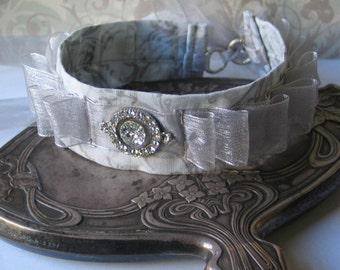 Silver Ribbon and Rhinestone Choker, 18th century jewelry, 19th century jewelry, Outlander Inspired