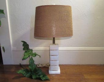 Vintage 1950s Alabaster Table Lamp With Shade and Finial