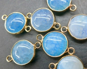 Lake Blue Agate 15mm round connector beads with gold plating wrapped- Double Bail- #25
