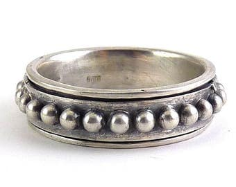 Sterling Silver Spinner Ring, Raised Circles or Balls, Size 13 1/2
