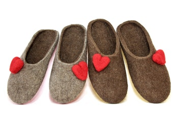 Red Hearts Wool Slippers, Valentines Day Gift for Her Wool Felt Clogs Fall in Love Gifts, Breathable Customize Slippers 6 Color Rubber Soles