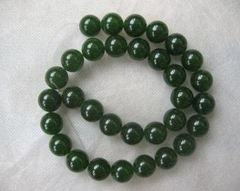 Full Strand Beautiful Moss Green Jade Round Smooth Beads 12mm