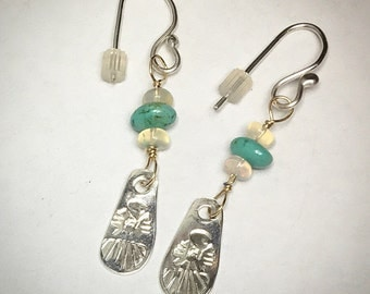 Turquoise and Opal Tbird Dangle Earrings