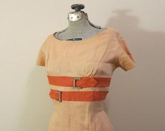 Dress pinup wiggle 1950s linen pencil skirt peach orange rhinestone buckle M