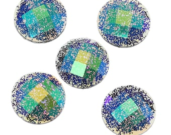 10 Resin Black AB Color Glitter Faceted Dome 8mm