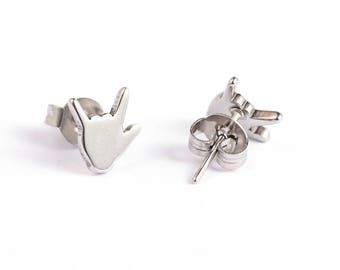 American Sign Language I Love You Stud Earrings Stainless Steel Setting As Seen On Jane.com