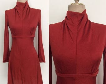 30% OFF 1970's Polyester Deep Red Vintage Mod Mini Dress Size XS Small by Maeberry Vintage