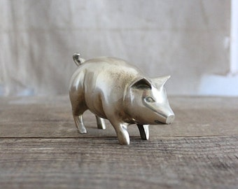 Vintage Brass Pig Figurine