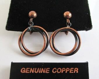 Solid Copper Earrings - Vintage Clip On Dangling Rings