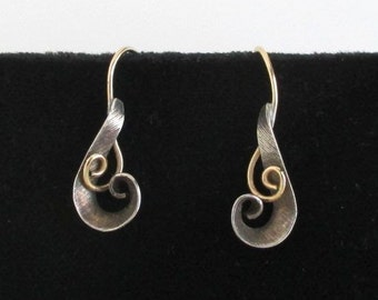 Sterling Silver & Gold Pierced Earrings - Vintage, Handmade Modernist