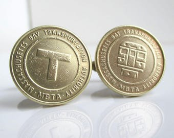 Boston T Token Cuff Links - Gold / Brass - Vintage Coin Front & Back